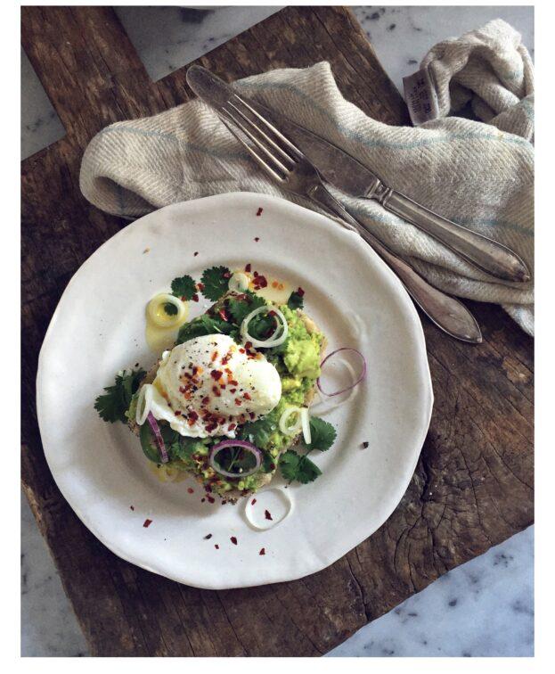 Avocado on bread w/ Poached egg